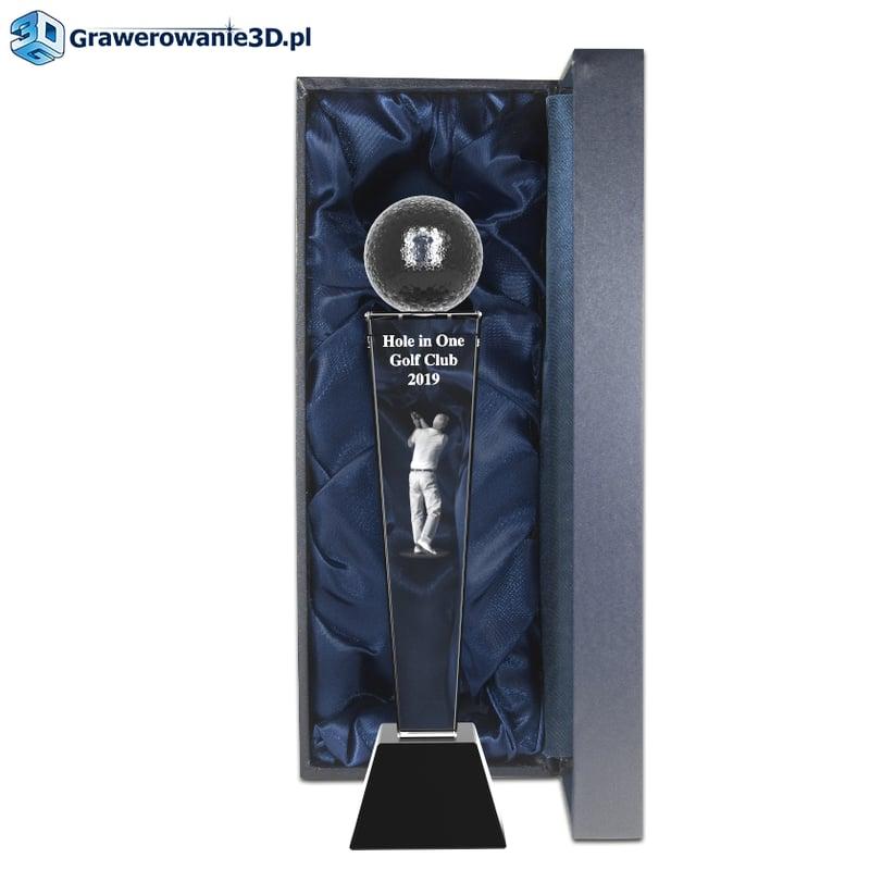 nowoczesna statuetka dla golfisty grawer