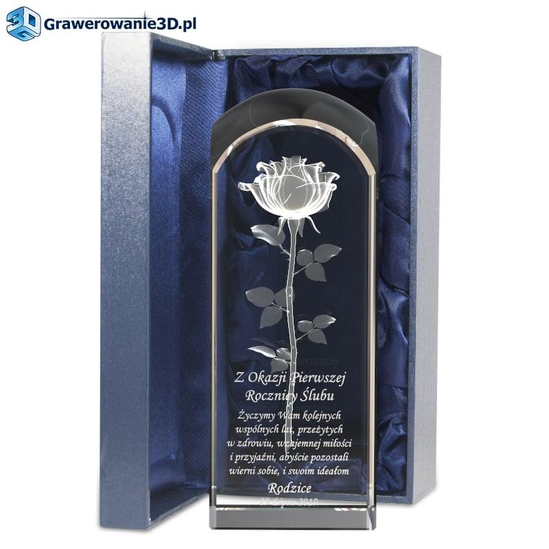 Pierwsza rocznica ślubu grawerowana róża 3D w krysztale na rocznicę ślubu dla żony z pięknymi życzeniami