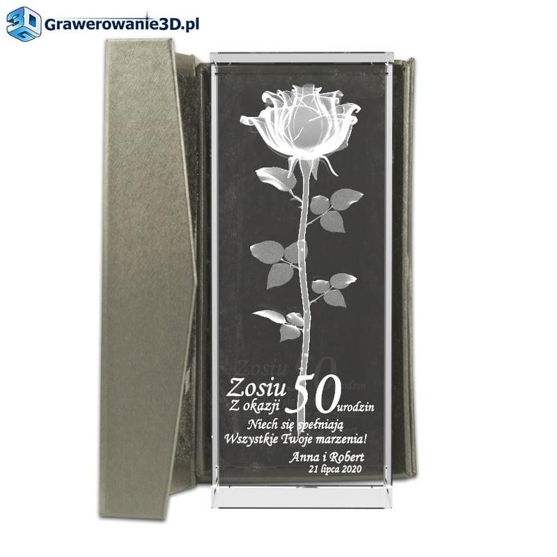 róża w krysztale na 50 urodziny