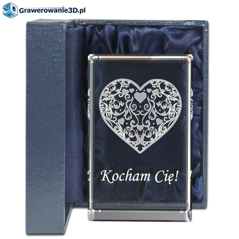 prezent na rocznicę ślubu dla żony na 1 rocznicę, prezent grawerowany, szkło kryształowe, serce 3d