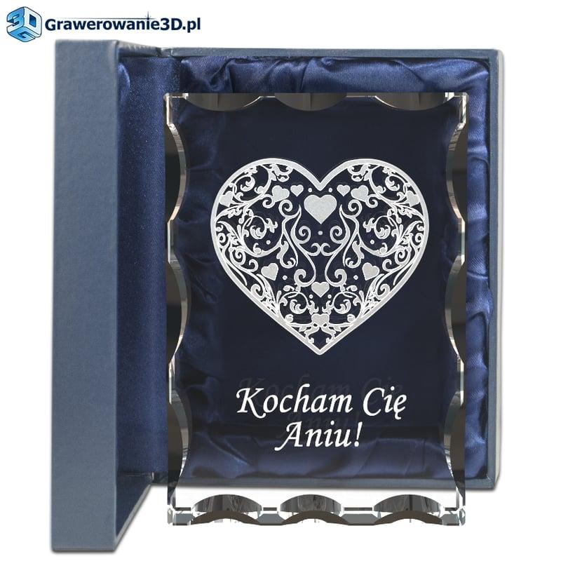 prezent dla dziewczyny na urodziny, wyjątkowe serce 3d wewnątrz kryształu z własnym grawerem dedykacją i życzeniami