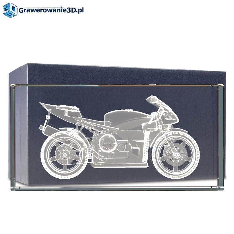 Prezent dla fana motoryzacji grawer 3D w krysztale, statuetka z motorem 3d w krysztale z dedykacją, motor 3d