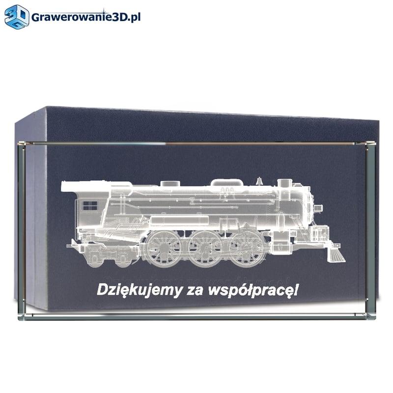 Prezent dla prezesa firmy grawer 3D lokomotywa w krysztale