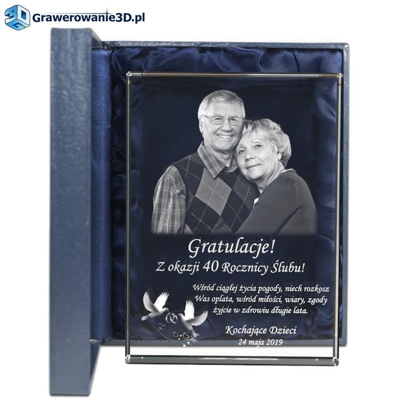 Prezent na 40 rocznicę ślubu grawerowany prezent ze zdjęciem dla rodziców od dzieci na rocznicę