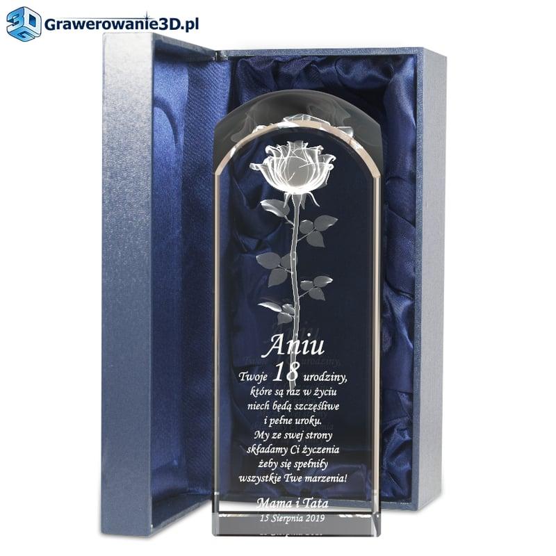 Prezent na osiemnastkę - grawerowana róża 3D w krysztale na 18 urodziny