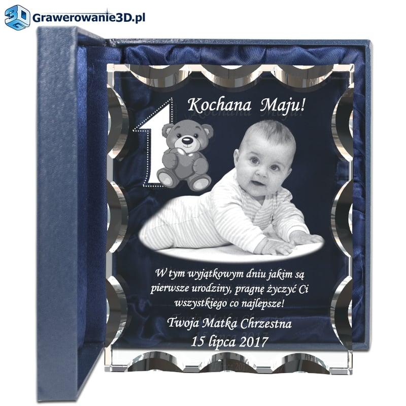 prezent na roczek dla dziewczynki grawer w szkle zdjęcie w szkle, zyczenia wewnatrz szkła