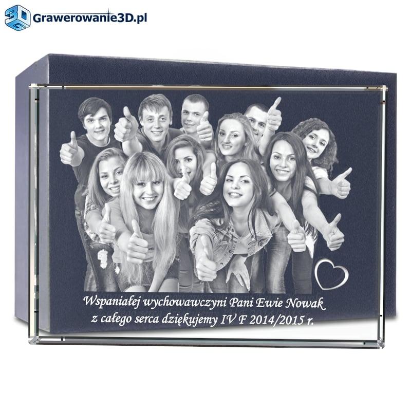 Prezent na zakończenie roku szkolnego grawer w krysztale, zdjęcie w szkle, zdjęcie zatopione w szkle - grawerowane, zdjecie grawerowane, podziekowania klasowe, prezent dla nauczyciela