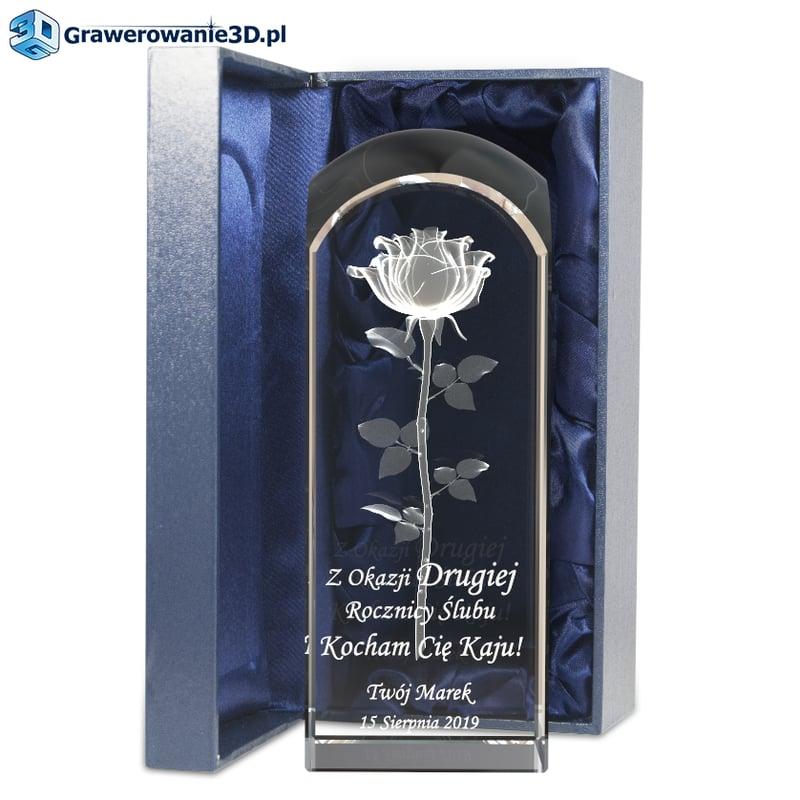 Rocznica ślubu - prezent grawerowany w krysztale, róża 3D